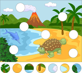 Funny cute ichthyosaurus and ankylosaurus on the background of a