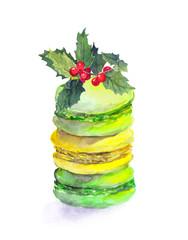 Cookies - macaroons and christmas mistletoe. Watercolor