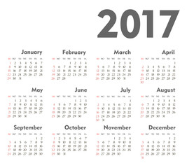 Vector Simple 2017 year calendar