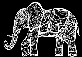 Abstract Indian ornamental elephant on a background.