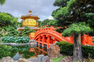 The golden pagoda and beautiful garden at Nan Lian public park Hong Kong.