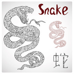 Zodiac illustration of snake with zen floral pattern and lettering