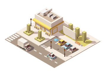 Vector isometric low poly urban supermarket