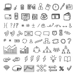 Hand drawn business doodles vector set of management, marketing and finance