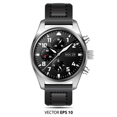 Watch chronograph vector isolated illustration.