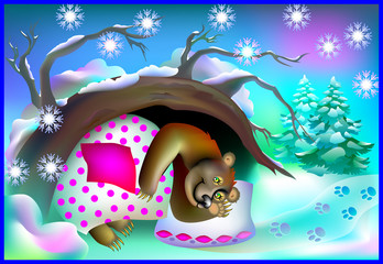 Illustration of bear sleeping in a cave during winter, vector cartoon image.