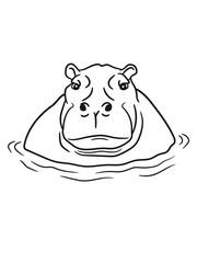 hippopotamus thick water swim thick large lake tümpel comic cartoon