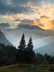 Wall Mural - Sunrise over French Alpes