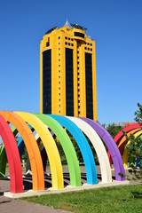 Street decoration in the form of colourful arches in Astana, capital of Kazakhstan