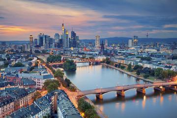 Frankfurt am Main. Image of Frankfurt am Main skyline during twilight blue hour. Wall mural