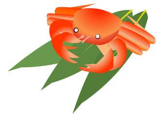 毛蟹と笹の葉