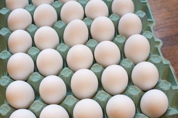 Tray of delicious farm eggs