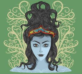 Beautiful tribal woman vector hand drawing theme t-shirt on a green background