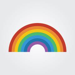 Rainbow icon flat design vector illustration.