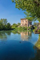medieval building upon the Mincio river in Borghetto