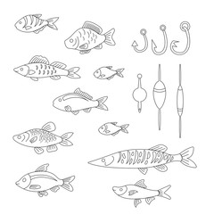 set of cute fish with fishing gear in a linear style