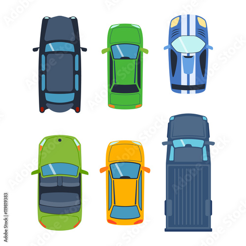 Vector Car Vehicle Set Icon Top View From Above Car Top View Some