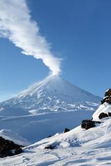 Poster Volcano Volcanic landscape of Kamchatka Peninsula: eruption active Klyuchevskaya Sopka (Klyuchevskoy Volcano). Eurasia, Russian Federation, Far East, Kamchatka Region, Klyuchevskaya Group of Volcanoes.