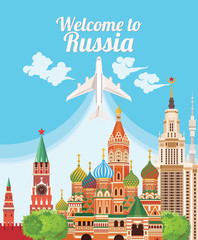 Welcome to Russia. Travel Russian landmarks. Russian vector icons. Travel concept. Traveling design