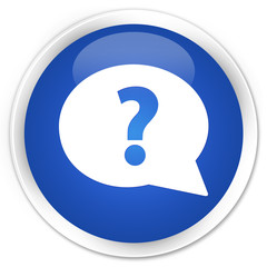 Question mark bubble icon blue glossy round button