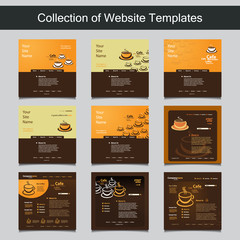 Collection of Website Templates for Your Business - Nine Nice and Simple Design Templates with Different Patterns and Header Designs - Coffee Shop, Cafe