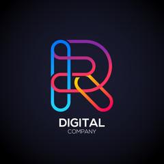 Letter R Logo Design.Linked shape circle symbol,Digital