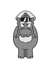 seaman captain boat ship deck cap anchor sailing dick funny comic cartoon sweet little cute baby hippo happy child