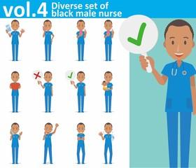 Diverse set of black male nurse on white background vol.4