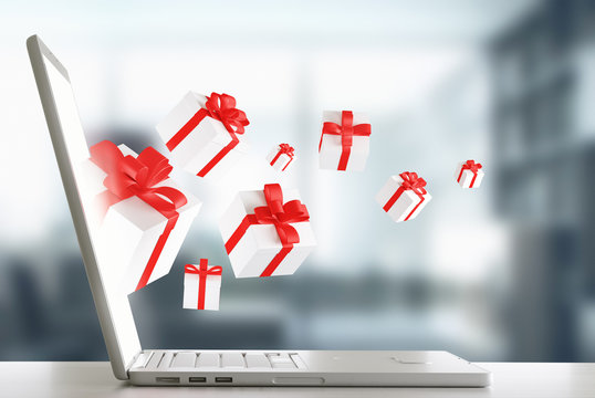 Pacchi regalo dal pc per shopping on-line render 3d