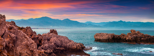 Colorful spring panorama of sunrise on the harbor Milazzo Wall mural
