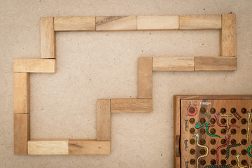Board game, wooden block