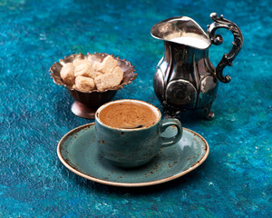 coffee with milk on a blue background