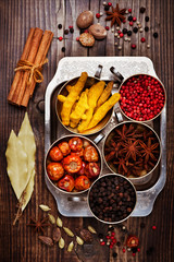 Spices, top view. Spices background