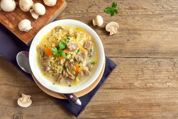 mushroom soup with millet