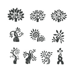 Tree logo illustration icon set. Magic beans