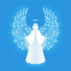 White glowing angel and halo.
