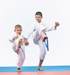 Sportsmen brothers are beating kick leg forward