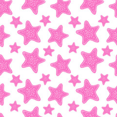 Exotic starfishes colorful seamless pattern on blue background.
