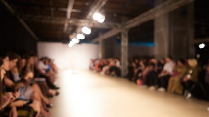 Fashion runway out of focus, blur background.