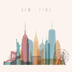 Transparent styled New York City skyline detailed silhouette. Trendy vector illustration.