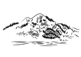 Mountain Landscape. Hand drawn, vector illustration