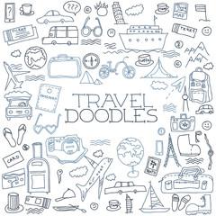 Hand drawn travel, tourism doodles elements illustration.