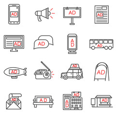 advertising icons set. advertising space collection. Thin line design