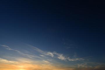 Boundless blue sky on sunset evening