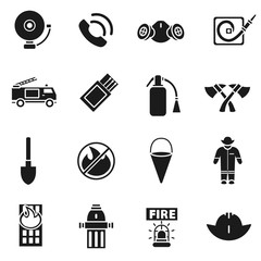 Firefighting simple icons set. Firefighter collection