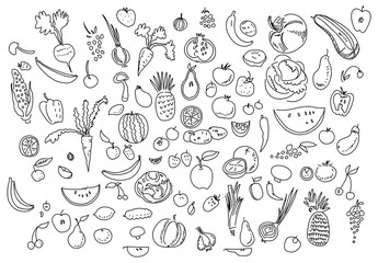 Hand drawn vegetables doodle sketch on white.