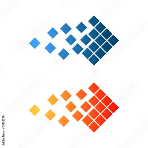 Blue Orange Pixel Square Logo Template Stock Image And Royalty