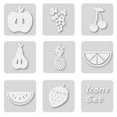 Paper set of fruits icons. Papery stickers with apple, grape, cherry, pear, ananas, orange, watermelon, strawberry. Signs for web design