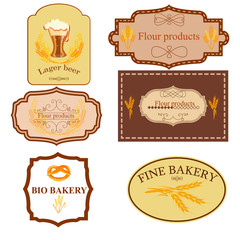 Collection of vintage retro bakery badges and labels
