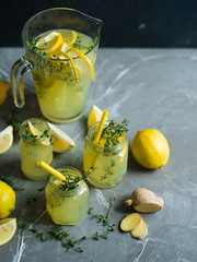 Lemonade drink with lemons
